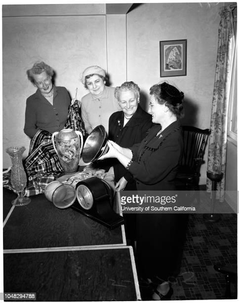 Christ Child Society November 3 1952 Mrs Paul J MackinMrs Frank L JohnsonMrs Roy HalstedMrs EJ Moloney Caption slip reads 'Photographer Rustan Date...