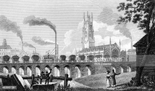 Christ Church and Coal Staith Leeds West Yorkshire 1829 An early steam locomotive hauls a train of coal wagons across a bridge observed by onlookers...