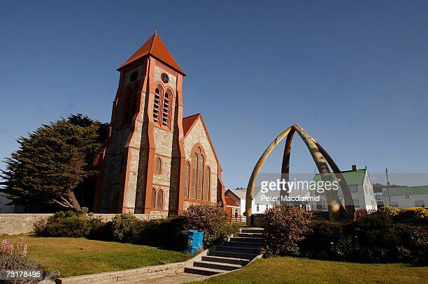 Christ Church Cathedral and the Whalebone Arch dominate the sea front on February 2 2007 near Stanley Falkland Islands The United Kingdom will...
