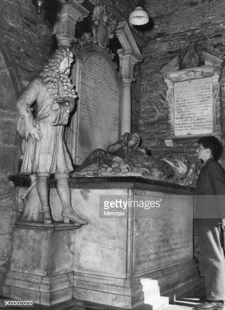 Christ College in Brecon a market town and community in Powys Mid Wales 20th June 1957 School boy admires statue in the school chapel