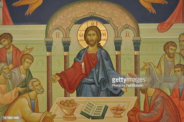 christ communing apostles - communion stock pictures, royalty-free photos & images
