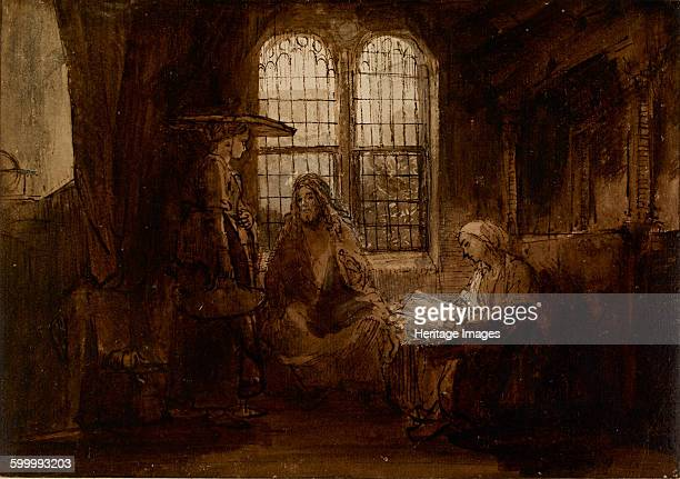 Christ Conversing with Martha and Mary, ca 1652. Found in the collection of British Museum. Artist : Rembrandt van Rhijn .