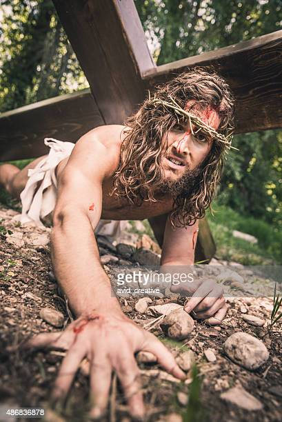 Christ Crawls on Ground and Suffers Under Weight of Cross