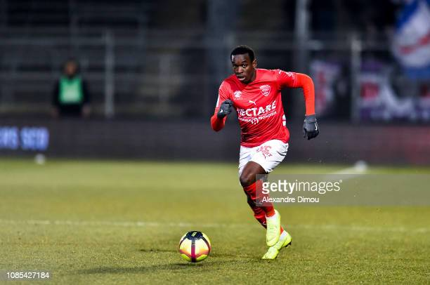 Christ Emmanuel MAouassa of Nimes during the Ligue 1 match between Nimes and Toulouse at Stade des Costieres on January 19 2019 in Nimes France