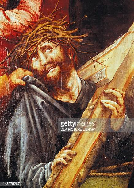 Christ exhausted, ca 1523-1525, detail from the Ascent to Calvary from the Tauberbischofsheim Altarpiece, by Mathias Grunewald . ; Karlsruhe,...