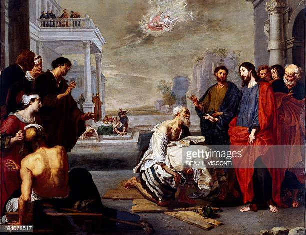Christ healing the paralytic painting by Vincent Malo Genoa Galleria Nazionale Di Palazzo Spinola