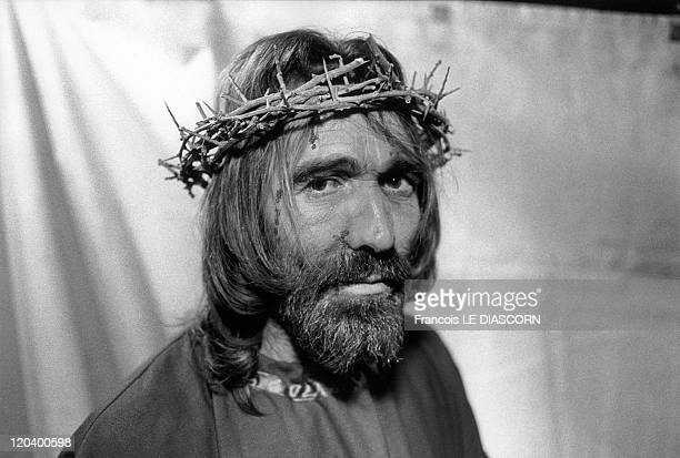 Christ in Caltanissetta Sicily Italy Portrait of Christ just before the religious procession celebrating