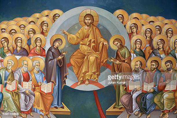 christ in glory greek orthodox fresco - religious saint stock pictures, royalty-free photos & images