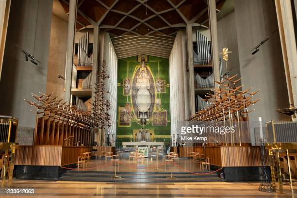 Christ in Glory in the Tetramorph, tapestry by Graham Sutherland inside Coventry Cathedral also known as St Michael's, a modern cathedral founded in...