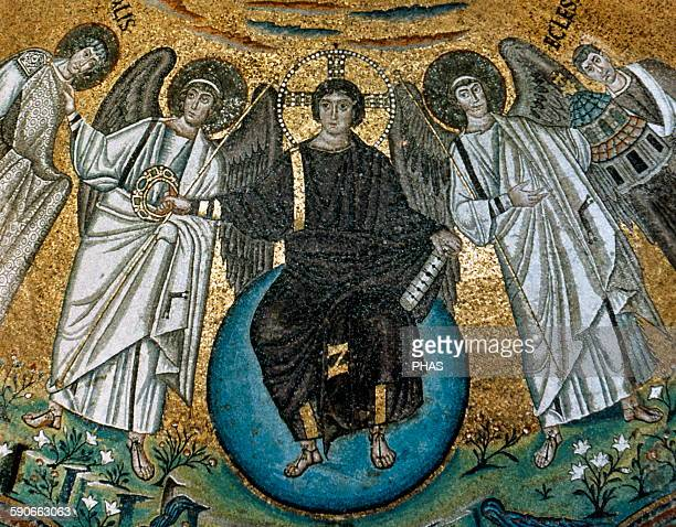 Christ in Majesty between St Viale and the Bishop Ecclesius Mosaic of the apse of San Vitale 547 AD Byzantine Art Ravenna Italy