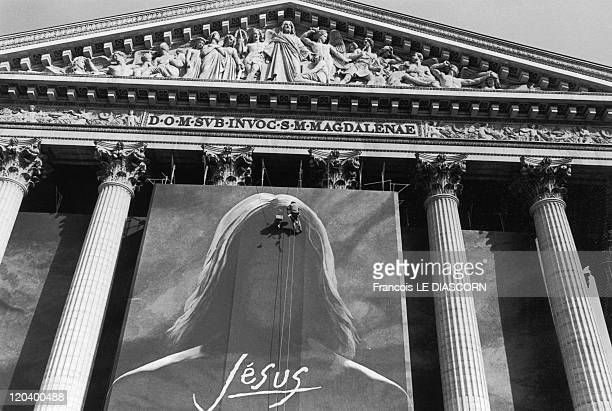Christ in Paris France in February 2000 The Christ painting by Catherine Feff in a show by Robert Hossein at the Madeleine Rapho Agency has not...