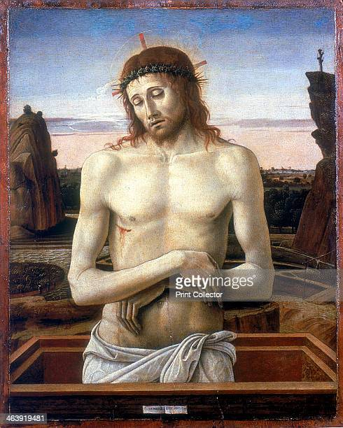 'Christ in the Tomb' 1460 The body of Christ wearing the crown of thorns and showing the spear wound in the side stands erect in a lidless tomb From...