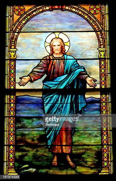 christ is risen close-up - death and resurrection of jesus stock photos and pictures