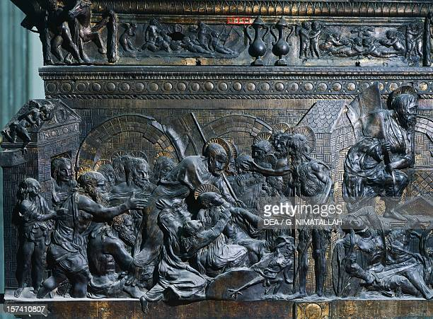 Christ laying in his tomb detail from the left pulpit Basilica of St Lawrence Florence by Donatello Italy 15th century