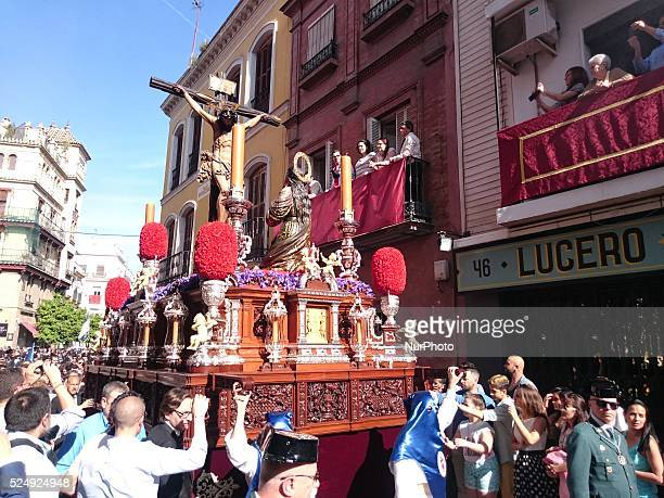 Christ of the Brotherhood called quotLa Hiniestaquot during its parade to Cathedral on Sunday of Palms day called Domingo de Ramos in Spanish Seville...