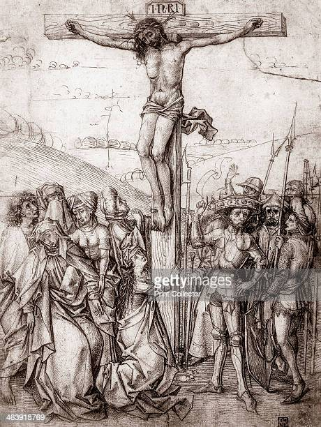 'Christ on the Cross' c1480 The Virgin Mary and her supporters cluster drooping in grief to the left of the cross while the soldiers and executioners...