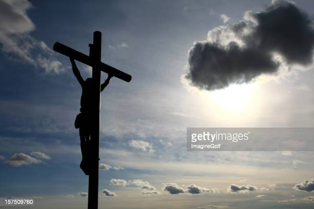 christ on the cross easter silhouette - death and resurrection of jesus stock photos and pictures