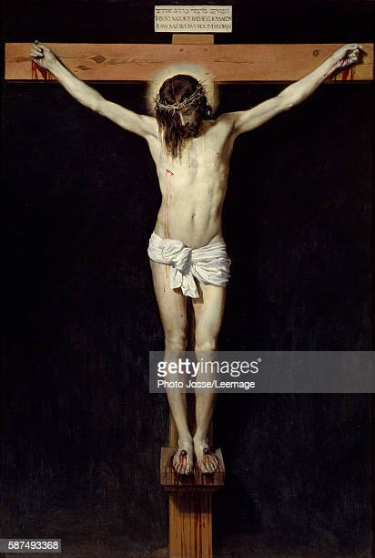 Christ on the Cross or Christ crucified Painting by Diego Rodriguez de Silva y Velazquez 1632 Oil on canvas 248 x 169 m Prado Museum Madrid Spain