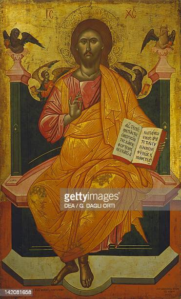 Christ on the throne by Emmanuel Zanes Icon 17th Century