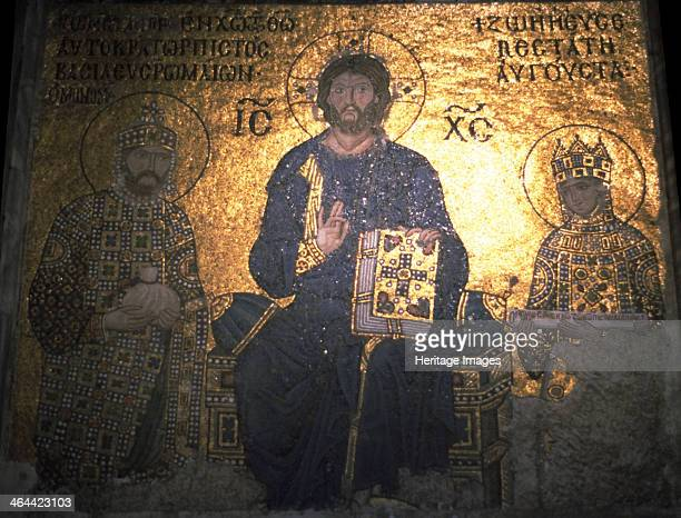 Christ Pantocrator between Emperor Constantine IX Monomachus and the Empress Zoe ca 1020 Found in the collection of the Hagia Sophia Istanbul Turkey