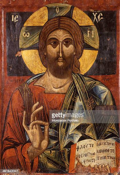 Christ Pantocrator by Unknown Artist from SouthEastern Albania tempera on wood Albania Korça National Museum of Medioeval Art Whole artwork view Icon...