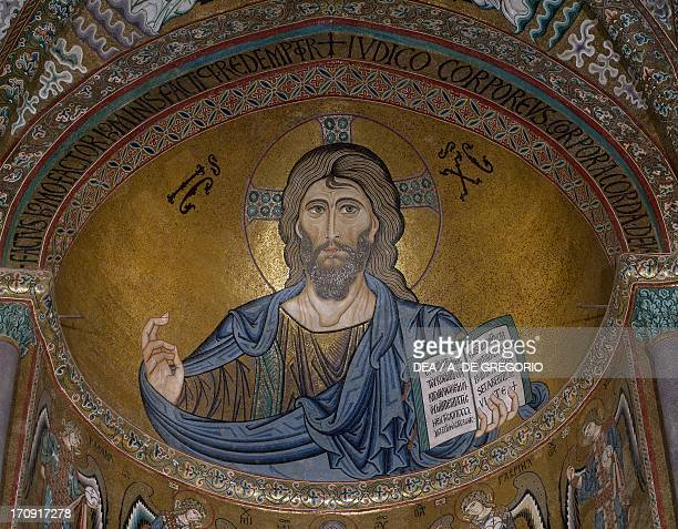 Christ Pantocrator Byzantine School mosaic 12th century apse aisle of the Cathedral of Cefalu' Sicily Italy