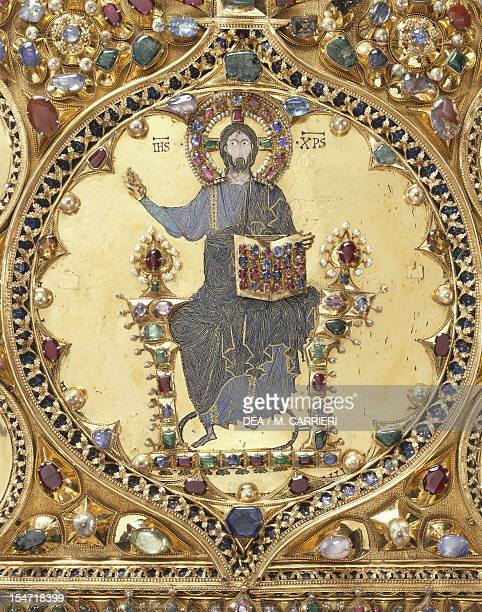 Christ Pantocrator detail from the Pala d'Oro altarpiece St Mark's Basilica Venice Goldsmith art Italy 12th14th century