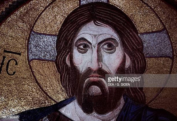Christ Pantocrator mosaic in the monastery of Daphni or Dafni near Chaidari Attica Greece 11th century