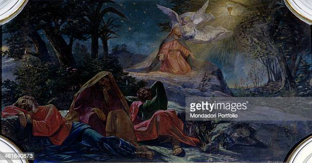 Christ Praying in the Gethsemane by Giulio Carlini 19th Century tempera on wall Italy Lazio Rome Archpriestal church of Concadirame Whole artwork...
