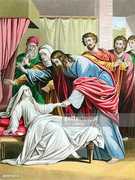 Christ raising the daughter of Jairus Governor of the Synagogue from the dead c1860 From the Bible