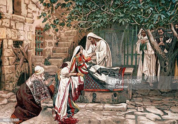 Christ raising the daughter of Jairus Governor of the Synagogue from the dead 1897 Scene from the Bible Illustration by JJ Tissot for his Life of our...