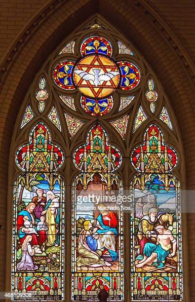 REDEEMER TORONTO ONTARIO CANADA Christ Receiving and Blessing Children Beautiful stained glass windows at the Church of the Redeemer in downtown...