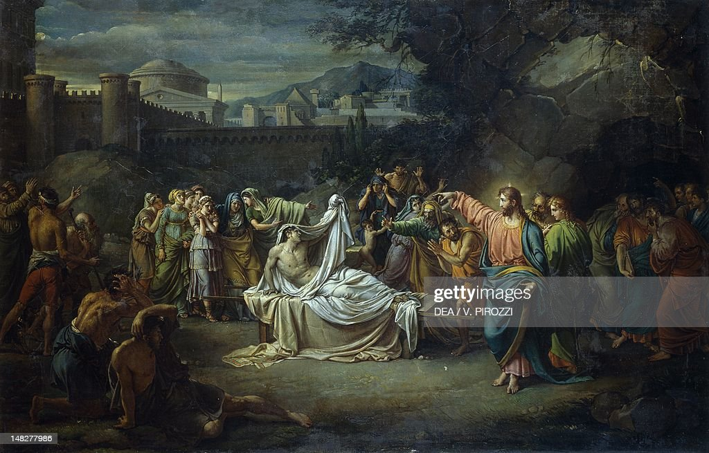 Christ resurrects the widow of Naim's son, 1806-1816, by Jean Baptiste Joseph (1762-1834), oil on canvas. (Photo by DeAgostini/Getty Images) : News Photo