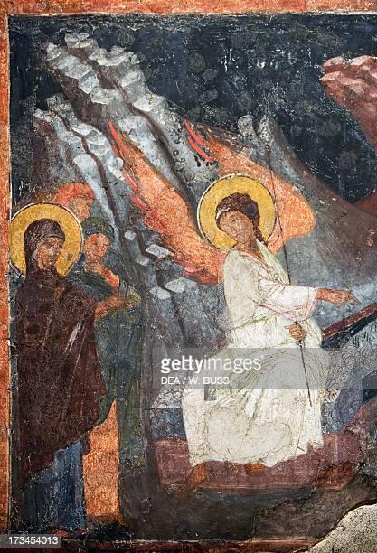 Christ risen indicating the tomb of the Virgin fresco in the Church of Sveta Petka Samardzijska interior frescoes Sofia Bulgaria