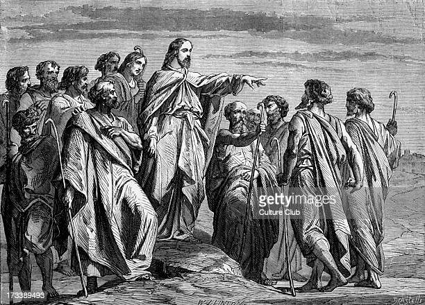 Christ sending forth the apostles Bible Matthew X 16 'Behold I send you forth as sheep in the midst of wolves be ye therefore wise as serpents and...