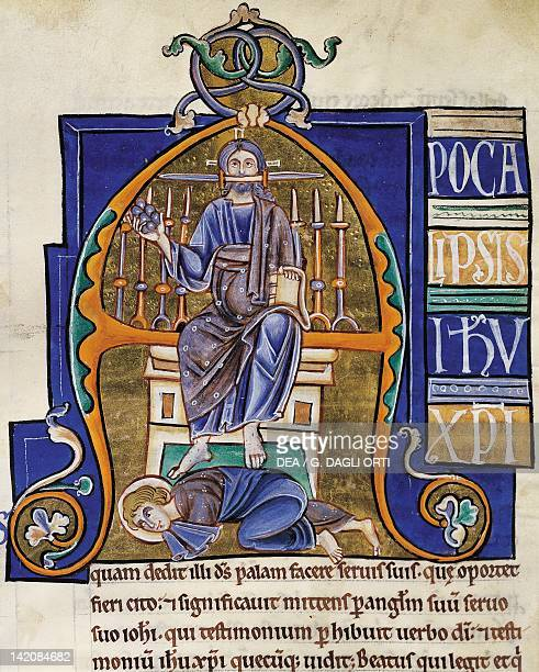 Christ the Book of Revelation miniature from the Bible of Souvigny Latin manuscript 1 folio 359 recto 12th Century