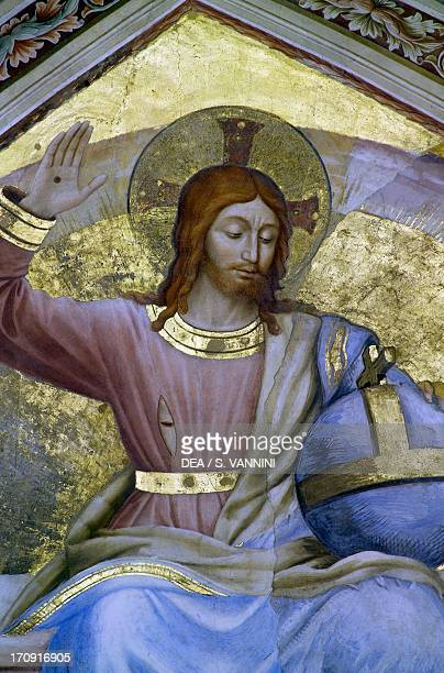 Christ the Judge amongst the angels detail with the Christ by Fra Angelico frescoed sail vault first span Chapel of San Brizio right transept of...
