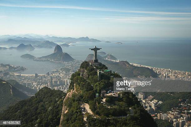 Christ the Redeeemer statue stands on Corcovado mountain on June 27 2014 in Rio de Janeiro Brazil