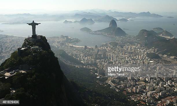 Christ the Redeemer statue stands above Rio on June 27 2014 in Rio de Janeiro Brazil