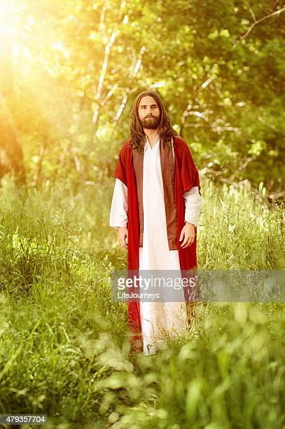 christ walking in the garden of eden - garden of eden old testament stock photos and pictures