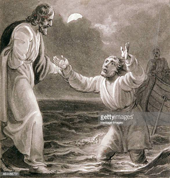 'Christ Walking on the Water' c1810c1844 Christ on the water with Peter on the left sinking Behind the disciples watch from a boat