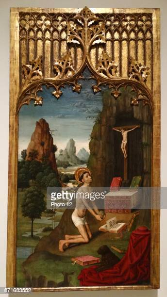 Christ with Mary Mother of God and saints circa 14951498 Gilded with gold leaf on canvas