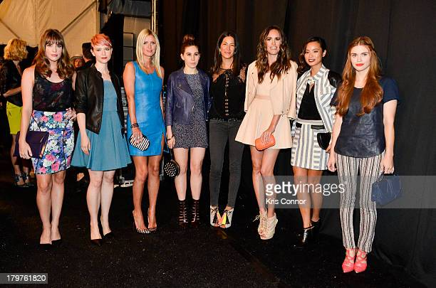Christa B. Allen, Valorie Curry, Nicky Hilton, Zosia Mamet, Rebecca Minkoff, Louise Roe, Jamie Chung and Holland Roden pose for a photo backstage...