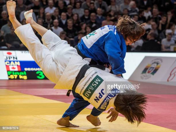 Christa Deguchi of Canada defeated Tsukasa Yoshida of Japan by an ippon to win the u57kg gold medal during the 2018 Paris Grand Slam at the...
