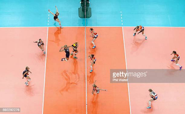 Christa Harmotto Dietzen of United States spikes the ball during the Women's Bronze Medal Match between Netherlands and the United States on Day 15...