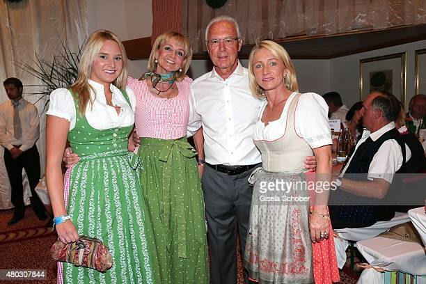 Christa Kinshofer and her daughter Stephanie Franz Beckenbauer and his wife Heidi Beckenbauer during a Bavarian Evening ahead of the Kaiser Cup 2015...