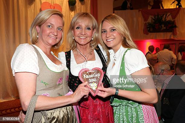 Christa Kinshofer and her daughter Stephanie Kinshofer and her sister Traudi Waldtraud Kinshofer during a bavarian evening ahead of the Kaiser Cup...