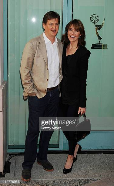 Christa Miller and husband Bill Lawrence arrive at the Academy of Television Arts Sciences Presents An Evening With Cougar Town which took place at...