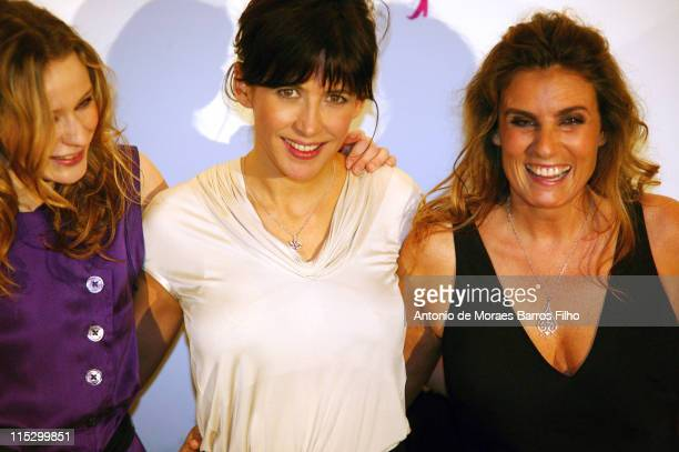 Christa Theret Sophie Marceau and Lisa Azuelos attend the Paris premiere of 'LOL' at the Cinema Gaumont Marignan on February 2 2009 in Paris France
