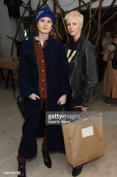 Christabel MacGreevy and Edie Campbell attend the launch of 'Wiltshire Before Christ' by Aries X Jeremy Deller x David Sims at The Store X 180 The...
